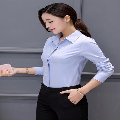 蜜哚哚女衬衫方领打底衬衣职业长袖正装蓝色上班面试修身学生百搭