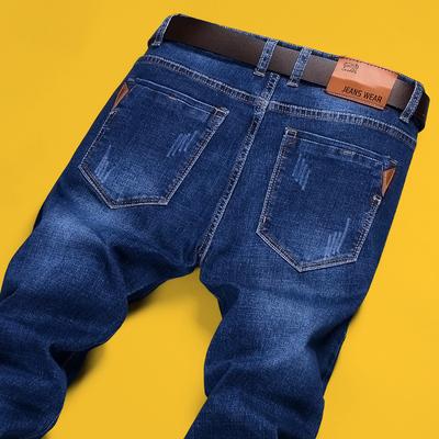 男士牛仔裤冬季弹力2017直筒修身秋冬款潮流青年休闲加绒加厚裤子
