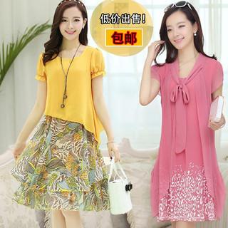 中年人妇女装夏天40-50岁妈妈穿的衣服宽松时尚雪纺连衣裙子