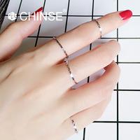 CHINSE 玫瑰金色尾戒小指韩版925纯银超细满天星关节戒指女极窄款