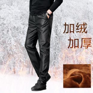 皮裤男宽松休闲加绒加厚防风保暖机车摩托车洗车防油防水劳保皮裤