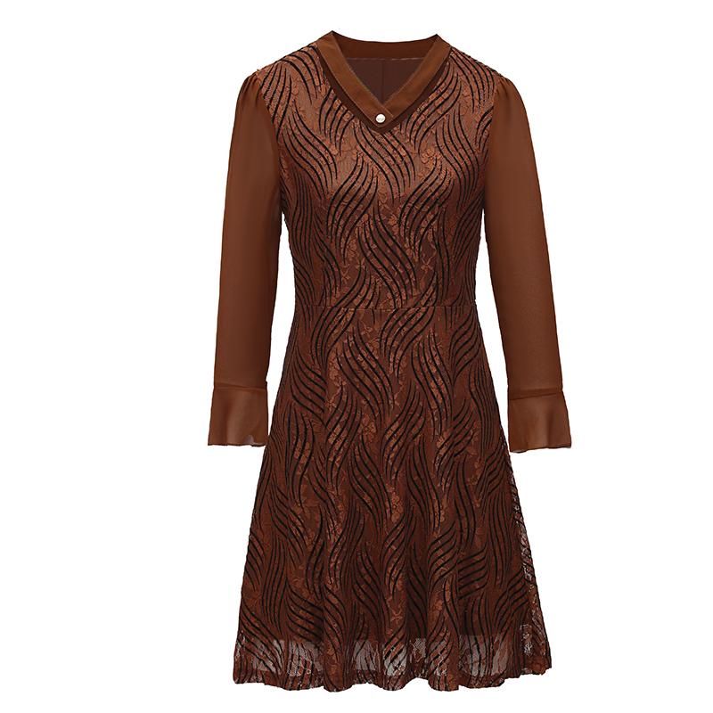 中老年女装春秋新款妈妈装连衣裙中长款中年大码40-50岁打底裙子