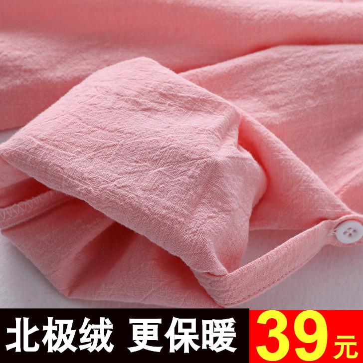 韩版格子加绒衬衫