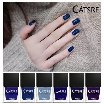 catsre蓝色指甲油可剥持久无毒无味撕拉烟灰蓝指甲油蓝色系列10ml