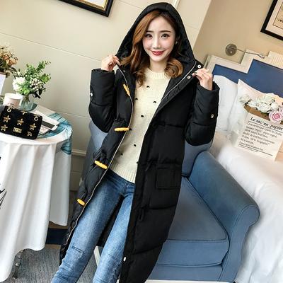 冬季新款韩版牛角扣连帽棉衣女中长款面包服学生加厚棉服过膝棉袄