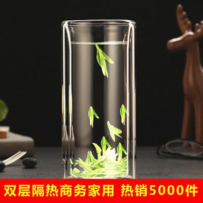 双层玻璃水杯隔热加厚直身杯水晶杯子家用无盖客厅泡茶杯绿茶定做