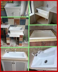 洗衣盆池  陶瓷带搓板 阳台水斗水池 台上盆 加深