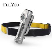 CooYoo 费米子 L型胸灯强光迷你小手电筒 USB充电两用多用途头灯