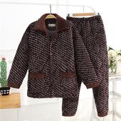 冬季中老年男士珊瑚绒夹棉袄三层加厚睡衣中年爸爸家居服老人套装