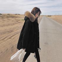 工装棉服女中长款港风2018新款冬季宽松大码加厚爆款羽绒棉衣外套
