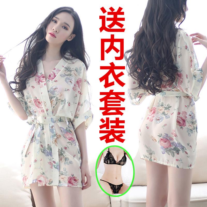 性感睡衣极度诱惑女情趣内衣透明薄纱浴袍夏季薄款冰丝宽松两件套