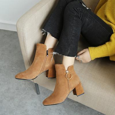 2018新款秋冬欧美真皮短靴方头切尔西中粗跟磨砂羊皮SW女靴裸靴子