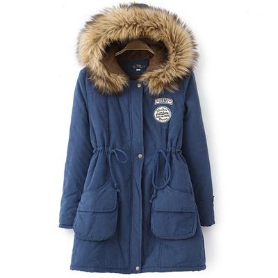 玉菲梵初中高中学生棉衣秋冬装中长款加厚外套带毛领学院风少女装