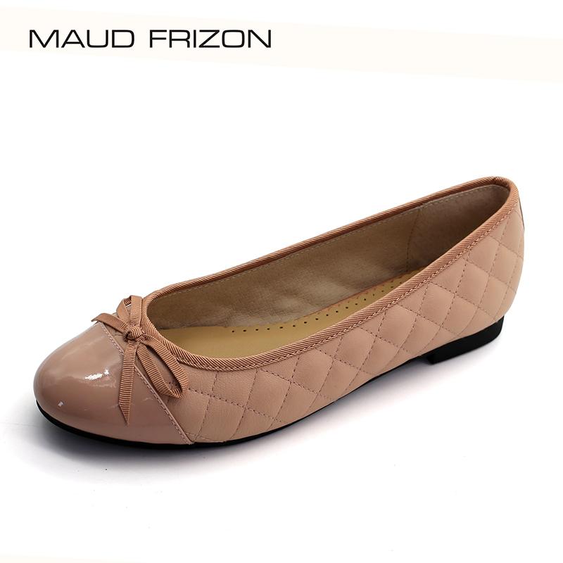maud frizon梦飞嫦四季款小香风拼色菱格纹小圆头平底平跟女单鞋