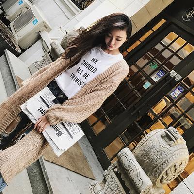 2018欧洲站秋冬新款韩版粗毛线针织衫马海毛外套开衫