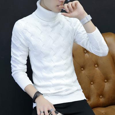 高领毛衣男韩版修身翻领个性潮流打底冬季加厚纯色保暖长袖针织衫