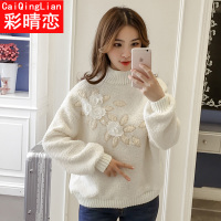 2017冬装少女新款加厚加绒羊羔绒卫衣高中学生韩版宽松上衣外套潮