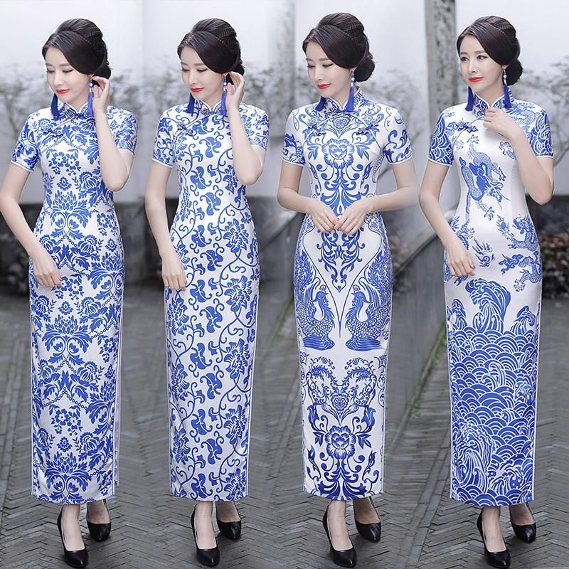 青花瓷旗袍连衣裙