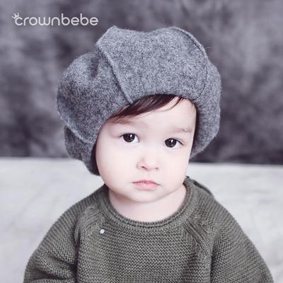 儿童帽子秋冬贝雷帽羊毛画家帽亲子帽子1-3-5岁男女韩版宝宝帽子