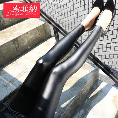 皮裤女2018新款薄款高腰秋冬亚光外穿弹力紧身加绒加厚小脚打底裤