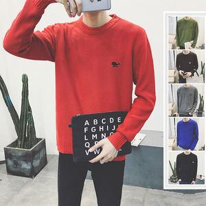 林弯弯秋冬韩版男士简单多色圆领套头毛衣圆领套头长袖针织衫衣服
