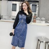 春秋女装2018新款韩版宽松卫衣拼接假两件连帽长袖牛仔连衣裙长裙