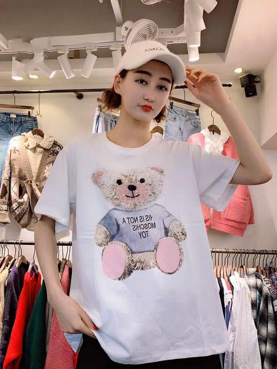歐洲站2019款重工釘珠亮片短袖網紅款卡通小熊半袖百搭寬松女T恤