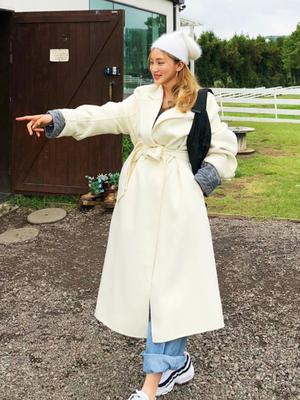 鬼鬼家 韩国代购秋冬 集温柔气质于一身 手工长款羊毛呢大衣外套