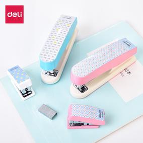 618得力文具创意卡通几何订书机韩版炫彩时尚迷你学生订书器书针