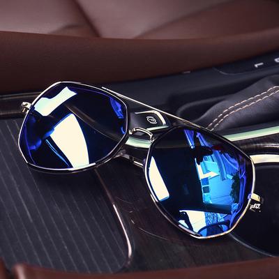 男女夏季个性反光潮流时尚开车太阳眼镜青年帅气金属边框蛤蟆墨镜