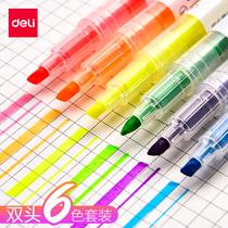 笔学生用笔记笔闪光笔标记笔记号笔彩色粗划重点套装得力荧光笔糖利色双头莹光彩色笔一套荧光标记笔银光