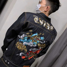 Japanese Kirin Lion Head Embroidered Jeans Jacket Guochao INS Primary Colour Paste Wash Embroidered Men's Jeans