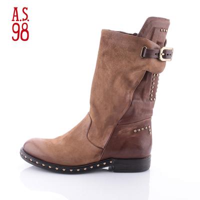 A.S.98意大利手工鞋2018春季新款铆钉拼色平底中筒女靴967312