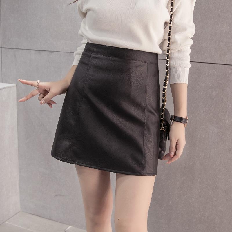 pu小皮裙包臀显瘦半身裙