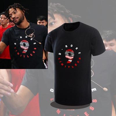 七亨2018罗斯中国行同款短袖夏季篮球历久弥坚玫瑰9号纯棉体T恤