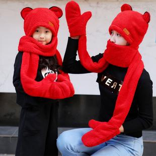 秋冬亲子男女童宝宝帽子围巾手套三件一体套装保暖加厚围脖套头帽