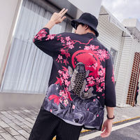 Japanese retro dark ukiyo-e painted robes kimono cardigan men and women Chinese style loose seven-point sleeve shirt coat tide