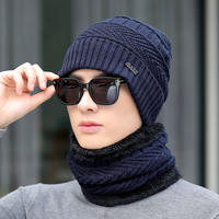 Hat male winter wool hat and velvet thickening cold warm knit hat men's hat winter cotton hat male tide youth