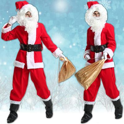 圣诞老人服装成人万圣节衣服男士万圣节衣服水晶毛绒加厚圣诞节
