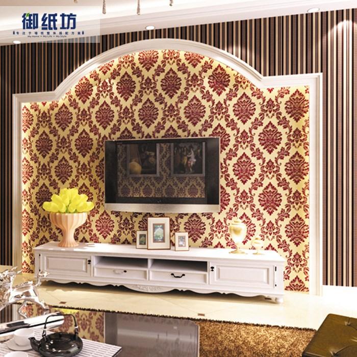 无纺布奢华天鹅绒植绒墙纸吸音客餐厅卧室大气欧式电视背景墙壁纸