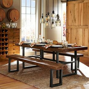 美式乡村loft铁艺工业风餐桌复古工作台办公桌 做旧实木餐厅桌椅