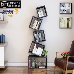 悬浮简约书架落地平衡书柜展示架收纳储物架创意储物柜客厅书橱