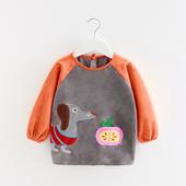 宝宝罩衣秋冬儿童罩衣长袖防水反穿衣婴儿吃饭罩衣加厚钻石绒护衣