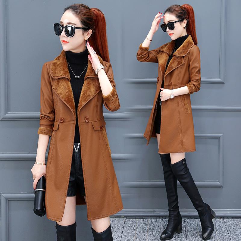 Plus velvet thick windbreaker female long section 2018 winter new Korean version of PU leather large