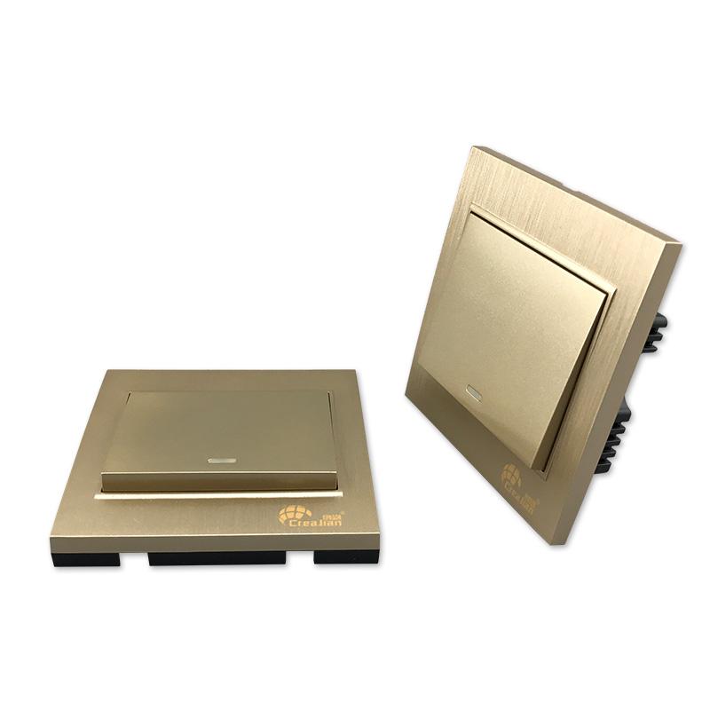 无线遥控开关220v单路86型单火线面板可穿墙免布线双控香槟金色