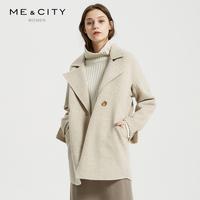 纯羊毛MECITY女装2018冬季新款双面呢复古格子单粒扣毛呢大衣外套