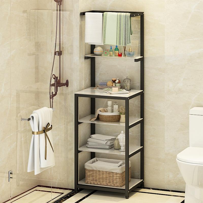 欧式浴室置物架落地多层玻璃不锈钢脸盆架洗手间化妆品收纳架