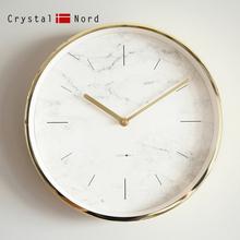 Crystal Nord大理石纹金框静音挂钟铜针客厅北欧钟表包邮美式轻奢
