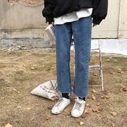 大码秋冬直筒裤女2018新款学生宽松显瘦胖mm韩版高腰阔腿牛仔裤子