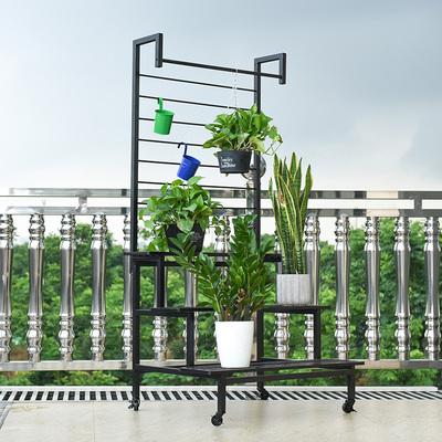 爬藤植物攀援花架铁艺阳台多层落地式花架子阶梯台阶花盆挂架定制